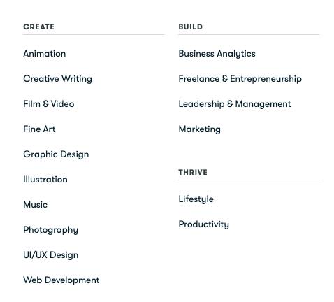 skillshare-categories