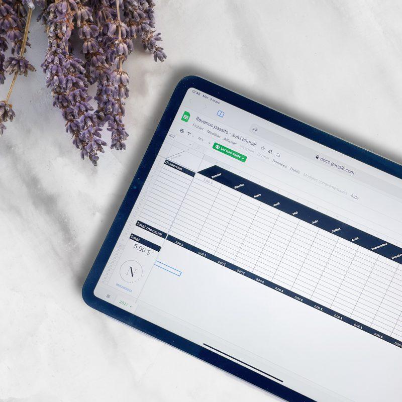 revenus passif suivi sur ipad